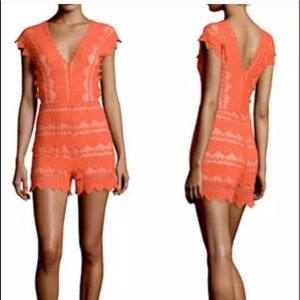 Night cap orange stretch lace romper